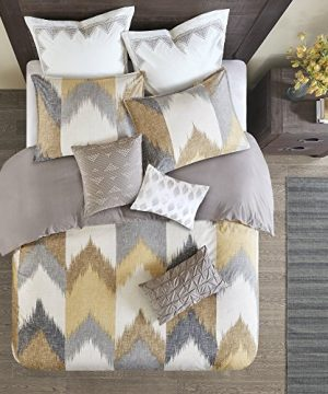 INKIVY Alpine FullQueen Size Bed Comforter Set Yellow Taupe Grey Ivory Pieced Chevron 3 Pieces Bedding Sets 100 Cotton Bedroom Comforters 0 1 300x360