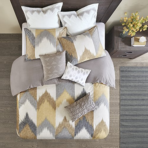 INKIVY Alpine FullQueen Size Bed Comforter Set Yellow Taupe Grey Ivory Pieced Chevron 3 Pieces Bedding Sets 100 Cotton Bedroom Comforters 0 1
