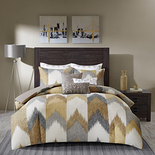INKIVY Alpine FullQueen Size Bed Comforter Set Yellow Taupe Grey Ivory Pieced Chevron 3 Pieces Bedding Sets 100 Cotton Bedroom Comforters 0