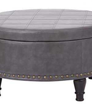 INSPIRED By Bassett Augusta Eco Leather Round Storage Ottoman With Brass Color Nail Head Trim And Deep Espresso Legs Grey 0 300x360