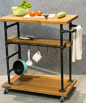 Industrial Portable Kitchen Island On WheelsBar Carts For The Home Wine Bar Beverage Coffee CartMetal Rolling Kitchen Carts And IslandsWood And Pipe 3 Tier Butcher Block Island Food Serving Cart 0 300x360