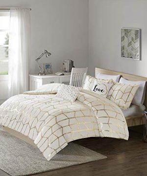 Intelligent Design Raina Comforter Set FullQueen IvoryGold 0 2 300x360