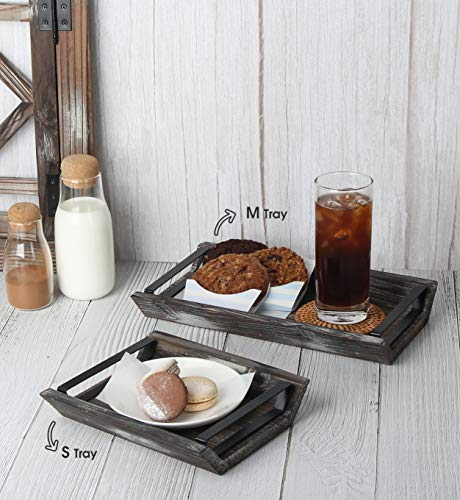 J JACKCUBE DESIGN Rustic Wood Decorative Tray With Handles Set Of 3 Serving Trays Wooden Platter Centerpieces For Coffee Table Dining Room Kitchen Bed MK541A 0 0