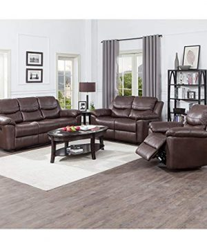 JUNTOSO 3 Pieces Recliner Sofa Sets Bonded Leather Lounge Chair Loveseat Reclining Couch For Living Room Chocolate 0 300x360