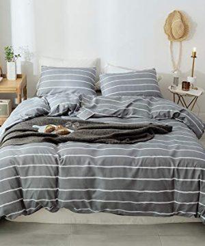 Janzaa 3pcs Striped Comforter Set Queen Soft Microfiber Modern Pattern Home Bedding Comforter Set With 2 Pillow CasesQueen 0 1 300x360