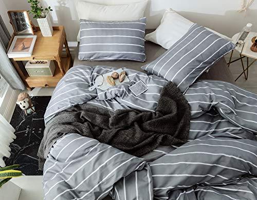 Janzaa 3pcs Striped Comforter Set Queen Soft Microfiber Modern Pattern Home Bedding Comforter Set With 2 Pillow CasesQueen 0 3