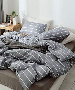 Janzaa 3pcs Striped Comforter Set Queen Soft Microfiber Modern Pattern Home Bedding Comforter Set With 2 Pillow CasesQueen 0 4 300x360