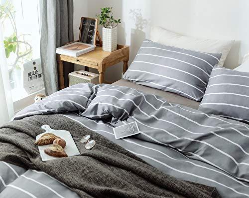 Janzaa 3pcs Striped Comforter Set Queen Soft Microfiber Modern Pattern Home Bedding Comforter Set With 2 Pillow CasesQueen 0 5