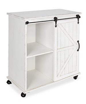 Kate And Laurel Cates Multi Purpose Wooden Rolling Kitchen Cart Storage Cabinet With Sliding Barn Door And Locking Wheels Antique White 0 300x360