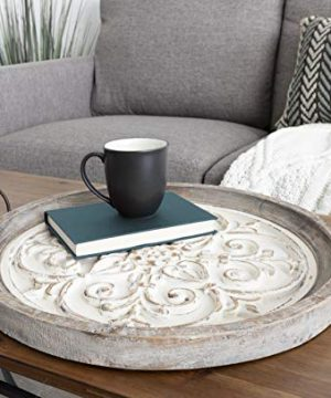 Kate And Laurel Hillrose Round Wooden Tray 18 Inch Diameter Rustic Brown And White Decorative Tray For Serving Display And Storage 0 0 300x360
