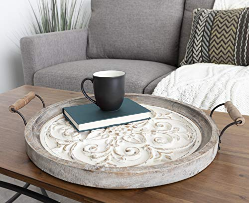Kate And Laurel Hillrose Round Wooden Tray 18 Inch Diameter Rustic Brown And White Decorative Tray For Serving Display And Storage 0 0