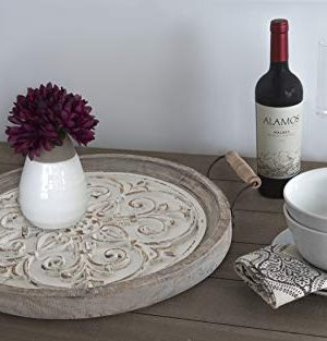 Kate And Laurel Hillrose Round Wooden Tray 18 Inch Diameter Rustic Brown And White Decorative Tray For Serving Display And Storage 0 1 300x313