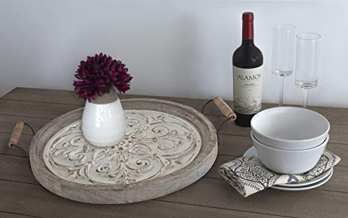 Kate And Laurel Hillrose Round Wooden Tray 18 Inch Diameter Rustic Brown And White Decorative Tray For Serving Display And Storage 0 1