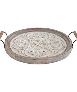 Kate And Laurel Hillrose Round Wooden Tray 18 Inch Diameter Rustic Brown And White Decorative Tray For Serving Display And Storage 0 3 300x360