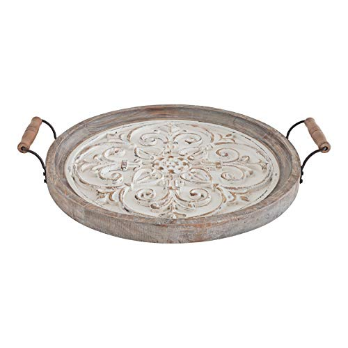 Kate And Laurel Hillrose Round Wooden Tray 18 Inch Diameter Rustic Brown And White Decorative Tray For Serving Display And Storage 0 3