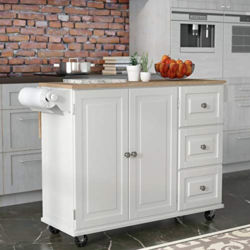 Kitchen Cart With Wood Top 0