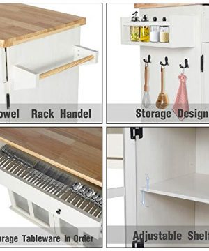 LAZZO Kitchen Island On Wheels Rolling Home Kitchen Cart With Pine Countertop Large Storage Trolley Cart With Cabinet Drawer Spice Rack Towel RackHandleStore Dining UtensilsTableware Beige 0 0 300x360