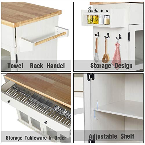 LAZZO Kitchen Island On Wheels Rolling Home Kitchen Cart With Pine Countertop Large Storage Trolley Cart With Cabinet Drawer Spice Rack Towel RackHandleStore Dining UtensilsTableware Beige 0 0