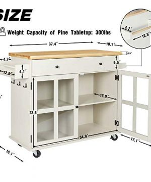 LAZZO Kitchen Island On Wheels Rolling Home Kitchen Cart With Pine Countertop Large Storage Trolley Cart With Cabinet Drawer Spice Rack Towel RackHandleStore Dining UtensilsTableware Beige 0 2 300x360