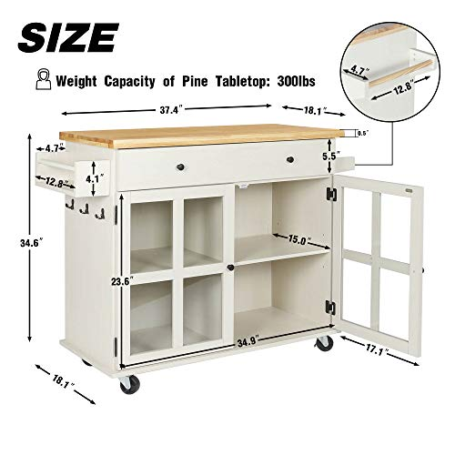 LAZZO Kitchen Island On Wheels Rolling Home Kitchen Cart With Pine Countertop Large Storage Trolley Cart With Cabinet Drawer Spice Rack Towel RackHandleStore Dining UtensilsTableware Beige 0 2