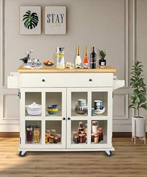LAZZO Kitchen Island On Wheels Rolling Home Kitchen Cart With Pine Countertop Large Storage Trolley Cart With Cabinet Drawer Spice Rack Towel RackHandleStore Dining UtensilsTableware Beige 0 3 300x360