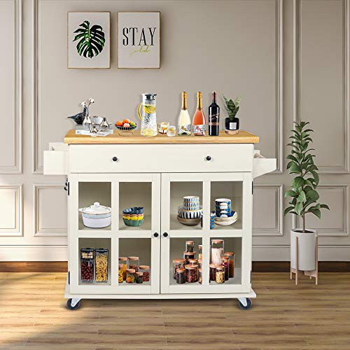 LAZZO Kitchen Island On Wheels Rolling Home Kitchen Cart With Pine Countertop Large Storage Trolley Cart With Cabinet Drawer Spice Rack Towel RackHandleStore Dining UtensilsTableware Beige 0 3