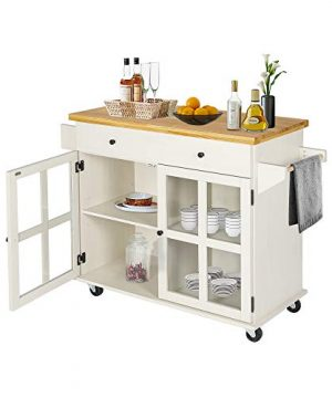 LAZZO Kitchen Island On Wheels Rolling Home Kitchen Cart With Pine Countertop Large Storage Trolley Cart With Cabinet Drawer Spice Rack Towel RackHandleStore Dining UtensilsTableware Beige 0 300x360