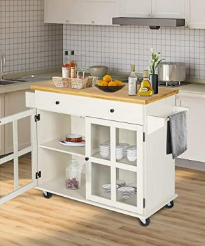 LAZZO Kitchen Island On Wheels Rolling Home Kitchen Cart With Pine Countertop Large Storage Trolley Cart With Cabinet Drawer Spice Rack Towel RackHandleStore Dining UtensilsTableware Beige 0 4 300x360