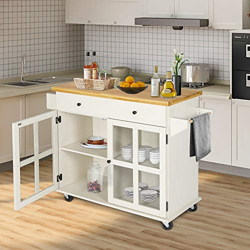 LAZZO Kitchen Island On Wheels Rolling Home Kitchen Cart With Pine Countertop Large Storage Trolley Cart With Cabinet Drawer Spice Rack Towel RackHandleStore Dining UtensilsTableware Beige 0 4