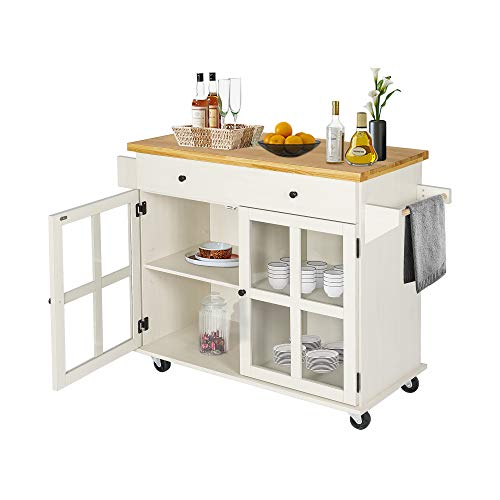 Lazzo Kitchen Island On Wheels Rolling Home Kitchen Cart With Pine Countertop Large Storage Trolley Cart With Cabinet Farmhouse Goals