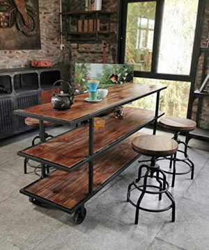 LOKKHAN 3 Tier Industrial Serving Cart With Wheels Wood And Metal Rolling Utility CartHome Kitchen Trolley Wine CartHeavy Duty Commercial Bar Cart 0 2 300x360