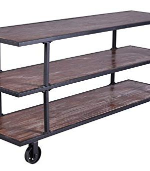 LOKKHAN 3 Tier Industrial Serving Cart With Wheels Wood And Metal Rolling Utility CartHome Kitchen Trolley Wine CartHeavy Duty Commercial Bar Cart 0 300x341
