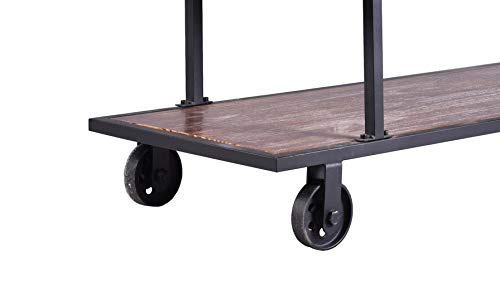 LOKKHAN 3 Tier Industrial Serving Cart With Wheels Wood And Metal Rolling Utility CartHome Kitchen Trolley Wine CartHeavy Duty Commercial Bar Cart 0 4