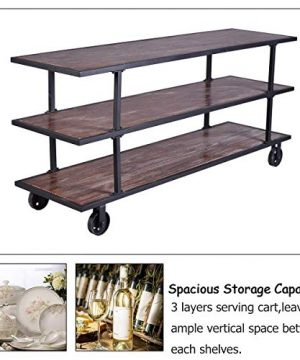 LOKKHAN 3 Tier Industrial Serving Cart With Wheels Wood And Metal Rolling Utility CartHome Kitchen Trolley Wine CartHeavy Duty Commercial Bar Cart 0 5 300x360