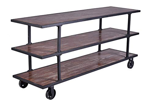 LOKKHAN 3 Tier Industrial Serving Cart With Wheels Wood And Metal Rolling Utility CartHome Kitchen Trolley Wine CartHeavy Duty Commercial Bar Cart 0