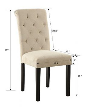 LSSBOUGHT Stylish Dining Room Chairs With Solid Wood Legs Set Of 4 Beige 0 0 300x360