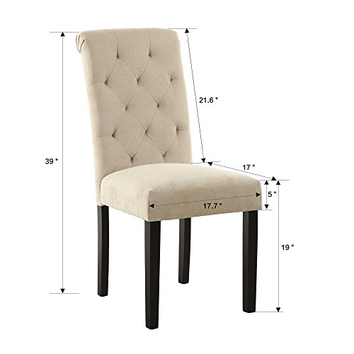 LSSBOUGHT Stylish Dining Room Chairs With Solid Wood Legs Set Of 4 Beige 0 0