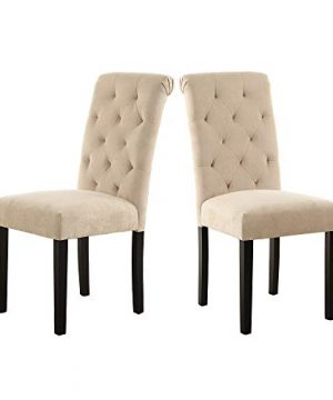 LSSBOUGHT Stylish Dining Room Chairs With Solid Wood Legs Set Of 4 Beige 0 1 300x360