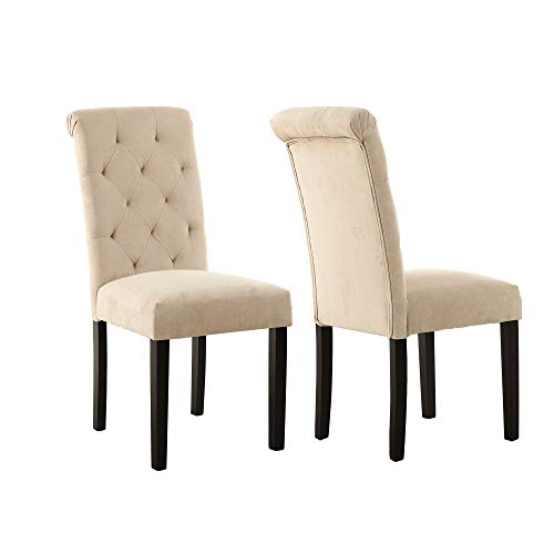 LSSBOUGHT Stylish Dining Room Chairs With Solid Wood Legs Set Of 4 Beige 0 2