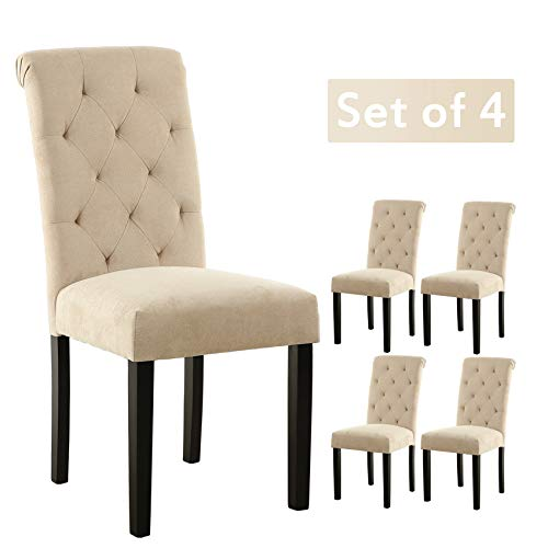 LSSBOUGHT Stylish Dining Room Chairs With Solid Wood Legs Set Of 4 Beige 0