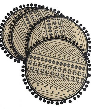 Lahome Geometric Pattern Round Placemat Farmhouse Jute Table Mats With Pompom Tassel 15 Inch Place Mat For Dining Room Kitchen Table Decor Black 4 0 300x360