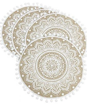 Lahome Mandala Flower Round Placemat Farmhouse Jute Table Mats With Pompom Tassel 15 Inch Place Mat For Dining Room Kitchen Table Decor White 4 0 0 300x360