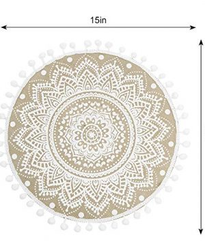 Lahome Mandala Flower Round Placemat Farmhouse Jute Table Mats With Pompom Tassel 15 Inch Place Mat For Dining Room Kitchen Table Decor White 4 0 1 300x360