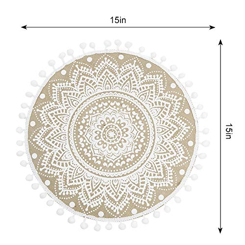 Lahome Mandala Flower Round Placemat Farmhouse Jute Table Mats With Pompom Tassel 15 Inch Place Mat For Dining Room Kitchen Table Decor White 4 0 1