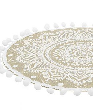 Lahome Mandala Flower Round Placemat Farmhouse Jute Table Mats With Pompom Tassel 15 Inch Place Mat For Dining Room Kitchen Table Decor White 4 0 2 300x360