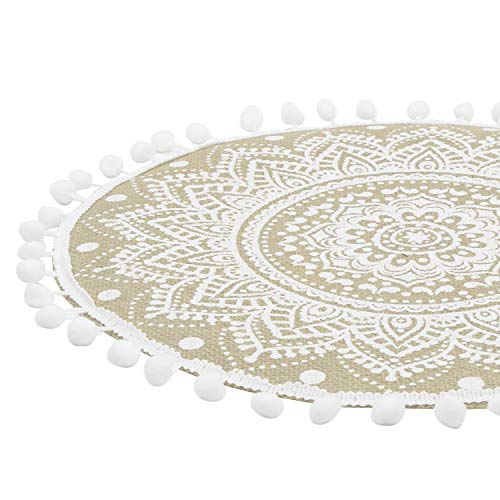 Lahome Mandala Flower Round Placemat Farmhouse Jute Table Mats With Pompom Tassel 15 Inch Place Mat For Dining Room Kitchen Table Decor White 4 0 2