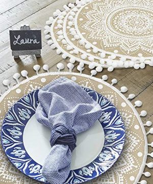 Lahome Mandala Flower Round Placemat Farmhouse Jute Table Mats With Pompom Tassel 15 Inch Place Mat For Dining Room Kitchen Table Decor White 4 0 3 300x360