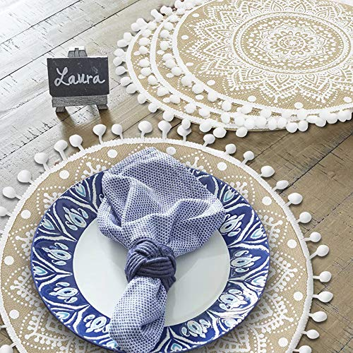 Lahome Mandala Flower Round Placemat Farmhouse Jute Table Mats With Pompom Tassel 15 Inch Place Mat For Dining Room Kitchen Table Decor White 4 0 3