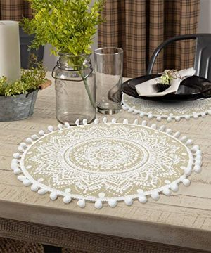 Lahome Mandala Flower Round Placemat Farmhouse Jute Table Mats With Pompom Tassel 15 Inch Place Mat For Dining Room Kitchen Table Decor White 4 0 4 300x360