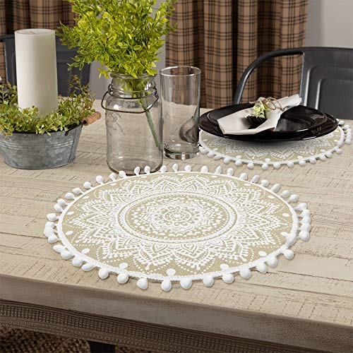 Lahome Mandala Flower Round Placemat Farmhouse Jute Table Mats With Pompom Tassel 15 Inch Place Mat For Dining Room Kitchen Table Decor White 4 0 4